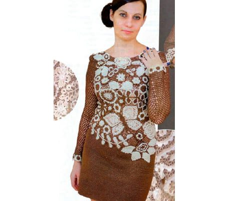 Красивое вязаное платье крючком для женщин