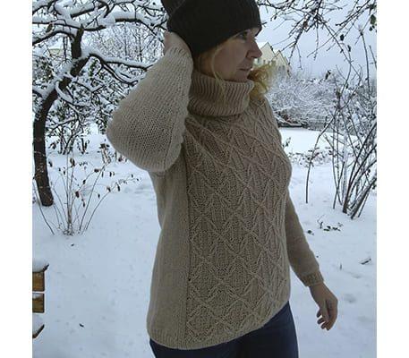 Теплый вязаный женский свитер спицами схема описание