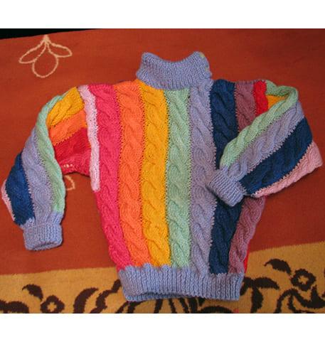 Вяжем свитер для мальчика 4 лет из остатков пряжи