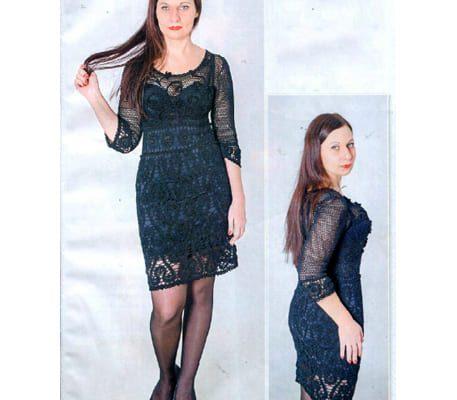Вязаное вечернее черное платье крючком
