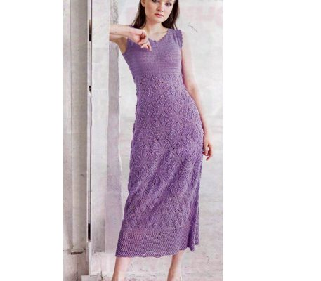 Вязаное летнее платье крючком Сирень