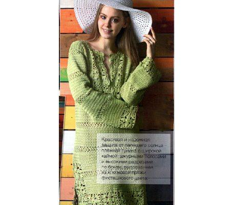 Вязаное летнее платье - туника крючком