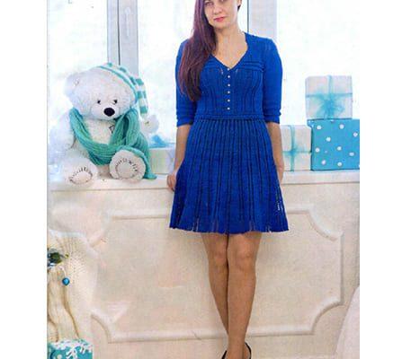 Вязаное синее платье крючком