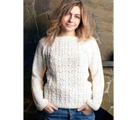 Вязаный женский белый пуловер крючком