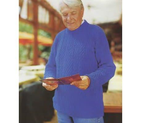 Вязание мужского голубого пуловера спицами с описанием и схемой