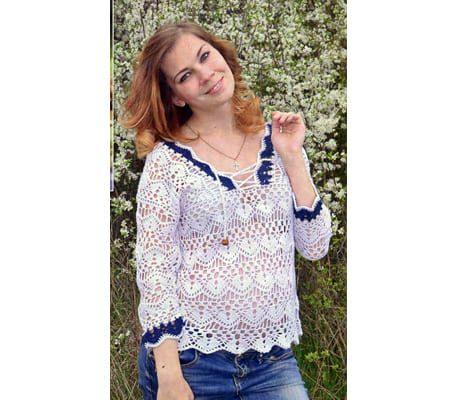 Белая вязаная блуза крючком