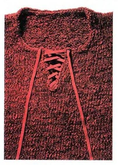 Синельный (красный) пуловер спицами с клешеными манжетами. Описание, выкройка