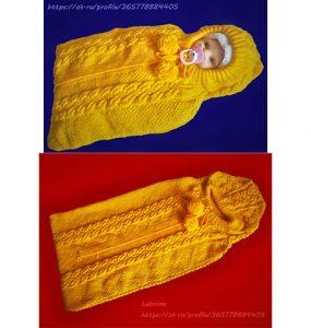 Вязанный конверт для новорожденного на выписку спицами