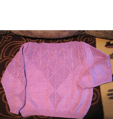 Молодёжный пуловер спицами Схема и выкройка