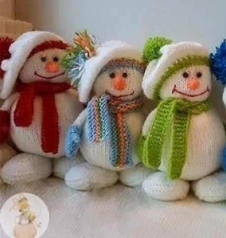 Как связать снеговика спицами для начинающих?