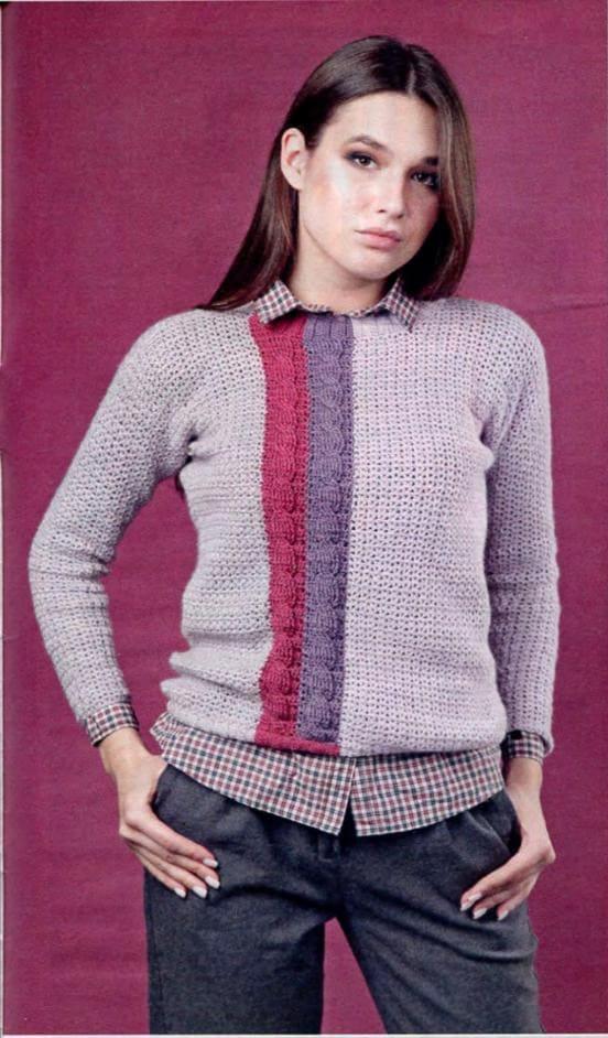 Женские пуловеры крючком схемы